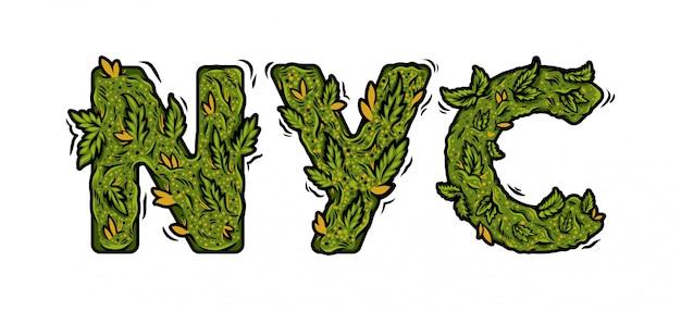 """Ozdobna zielona czcionka marihuany z napisem """"nyc"""" wykonana z pąków konopi."""