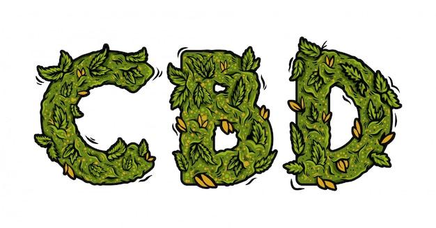 """Ozdobna zielona czcionka z marihuaną z napisem """"cbd"""" z napisem """"cbd"""" z pąków konopi. nowożytnej kreskówki ganja typografii ilustracyjni listy dla druku projekta."""