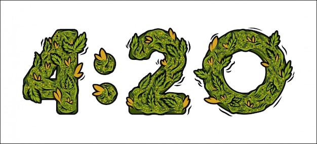 Ozdobna zielona marihuana czcionka z izolowanym napisem projekt chwastów liczba razy.