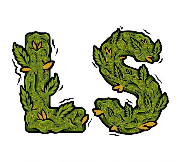 Ozdobna zielona marihuana czcionka z napisem chwastów projektu na białym tle.