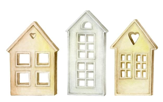 Ozdobne domy, w stylu skandynawskim, na izolowanym tle.