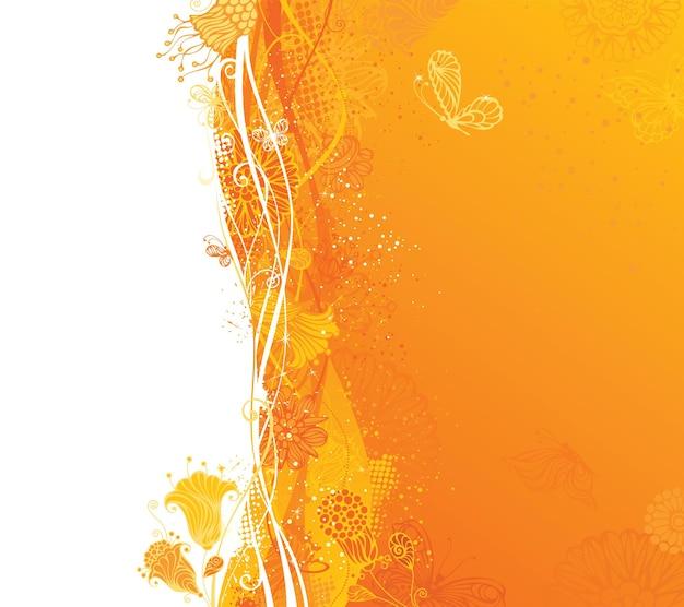 Ozdobne elementy kwiatowe i motyle. na białych i żółtych obszarach są miejsca na twój tekst.
