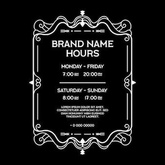 Ozdobne godziny otwarcia sklepów