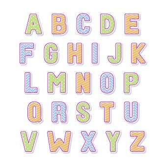 Ozdobne kolorowe czcionki i alfabetu