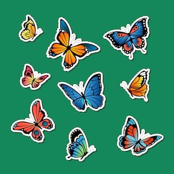 Ozdobne kolorowe motyle naklejki zestaw ilustracji