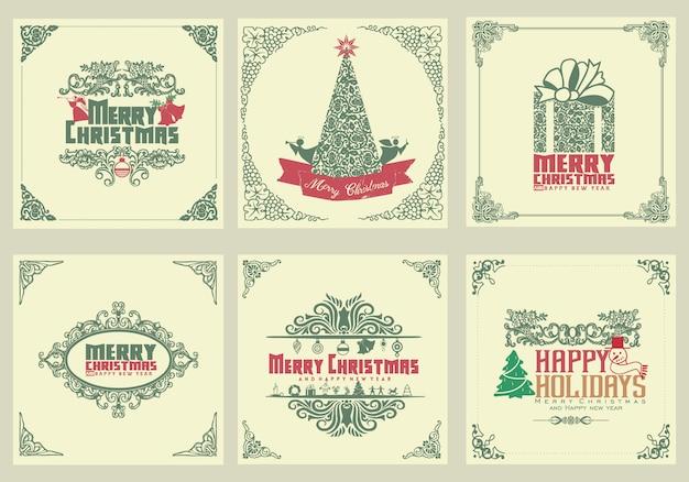 Ozdobne kwadratowe zimowe kartki z życzeniami z drzewem noworocznym, szkatułką, ozdoby świąteczne, ramki wirowe i typograficzne