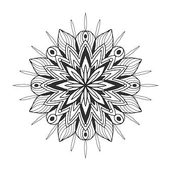 Ozdobne kwiatowy mandali. Wzór ornament płatka śniegu