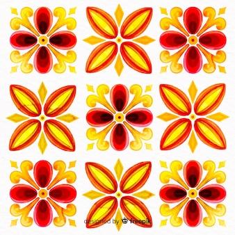 Ozdobne kwiaty akwarela farby tła