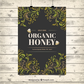 Ozdobne liście organiczny miód plakat