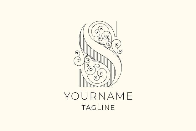 Ozdobne litery s początkowy projekt luksusowego logo