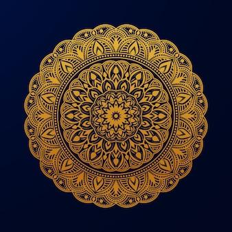 Ozdobne luksusowe złoty kolor islamskiej mandali