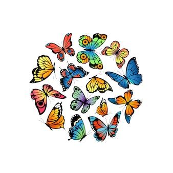 Ozdobne motyle w kształcie koła