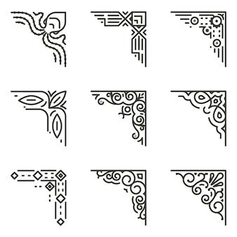 Ozdobne narożniki liniowe. kaligraficzne rogi linii dla ilustracji vintage ramek