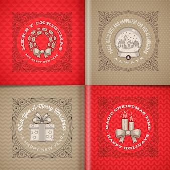 Ozdobne obramowania ramki grafiki z życzeniami bożonarodzeniowymi i symbolami