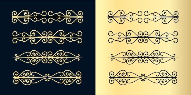 Ozdobne przegródki w wiry. stary ogranicznik tekstu, kaligraficzne ozdoby wirowe i dzielnik w stylu vintage, retro obramowania linie dekoracyjne projekt eleganckie krzywe ozdobny zestaw ramek