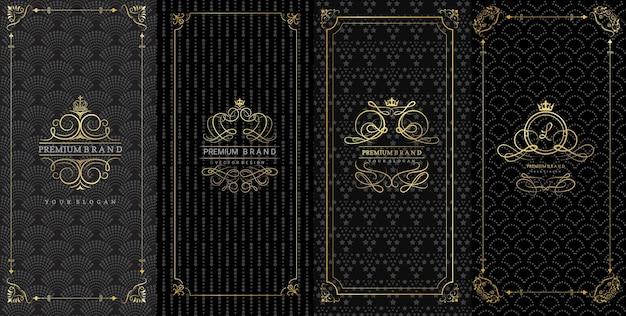 Ozdobne ramki i luksusowe logo do pakowania