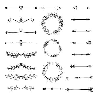 Ozdobne ramki i strzałki ręcznie rysowane kolekcji