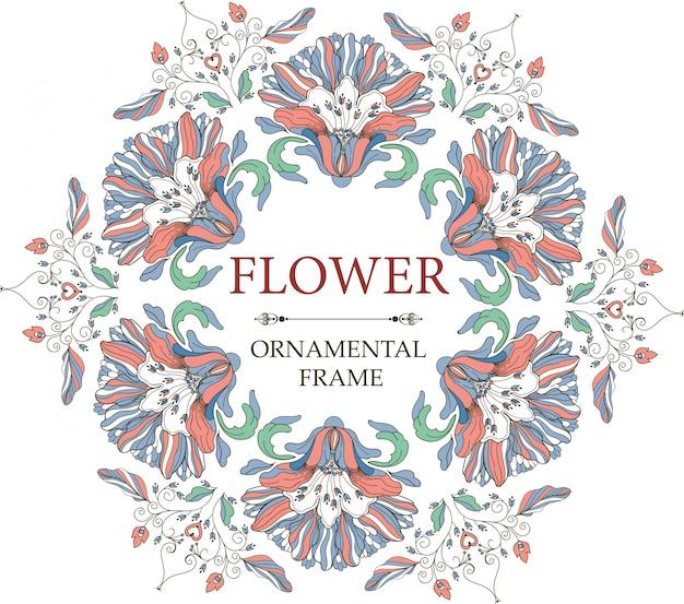 Ozdobne ramki kwiatowe w stylu vintage. okrągły ornament.
