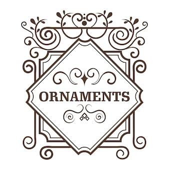 Ozdobne ramki okrągłe i ornament znak na białym tle. ilustracji wektorowych.