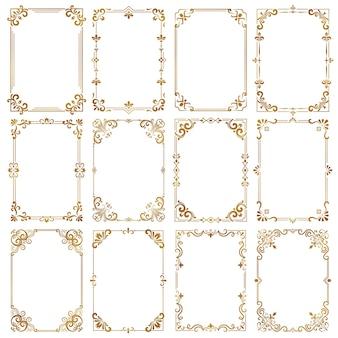 Ozdobne ramki vintage. certyfikat ozdobne obramowania królewski elegancki styl kaligraficzna kolekcja wektorów. ilustracja kaligraficzna granica, szablon ślubny premium