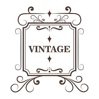 Ozdobne ramki w kształcie kwadratu i vintage podpisać na białym tle. ilustracji wektorowych.