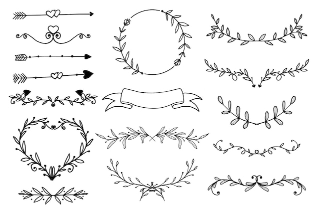 Ozdobne ręcznie rysowane kwiatowy rama, obramowanie i baner