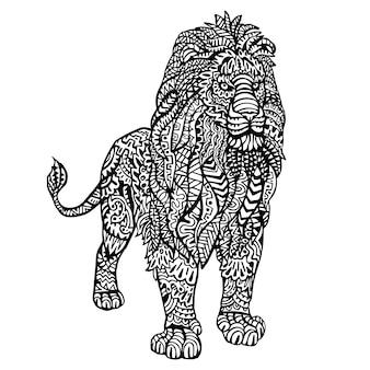 Ozdobne ręcznie rysowane lew