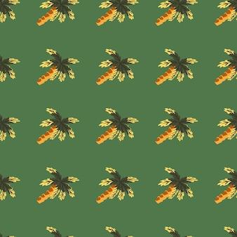 Ozdobne ręcznie rysowane palmy kształty wzór. zielony blady tło. egzotyczne doodle tło. przeznaczony do projektowania tkanin, nadruków na tekstyliach, zawijania, okładek. ilustracja wektorowa.