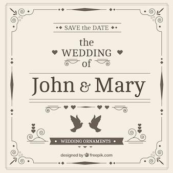 Ozdobne ręcznie rysowane zaproszenia ślubne w stylu vintage
