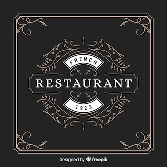 Ozdobne rocznika restauracja logo z ramą