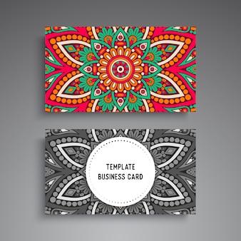 Ozdobne wizytówki szablon mandali