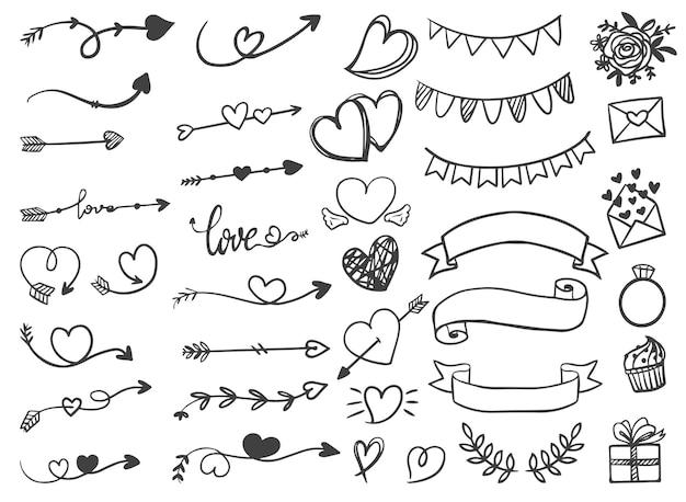 Ozdobne wstążki strzałek valentine i wesele ręcznie rysowane grafiki liniowej