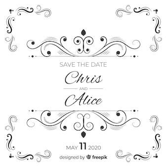 Ozdobne zapisać datę ślubu invitatio