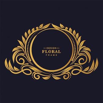 Ozdobne złote ozdobne tło kwiatowy ramki