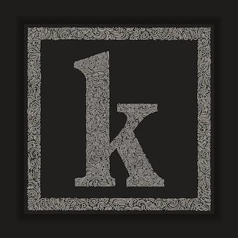 Ozdobny alfabet litery k monogram logo vector