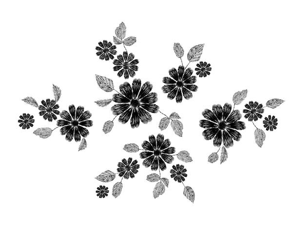 Ozdobny biały haft z koronką w kwiaty