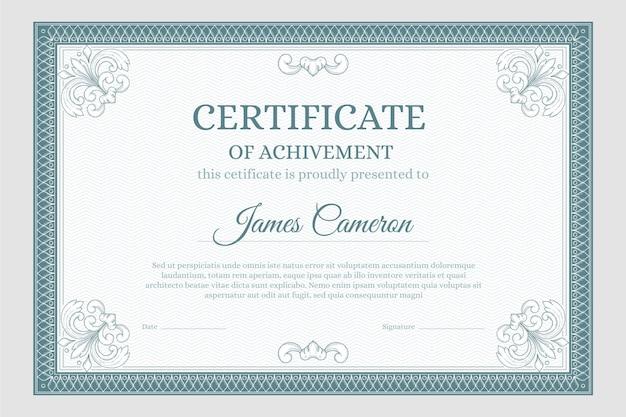 Ozdobny certyfikat osiągnięcia szablonu
