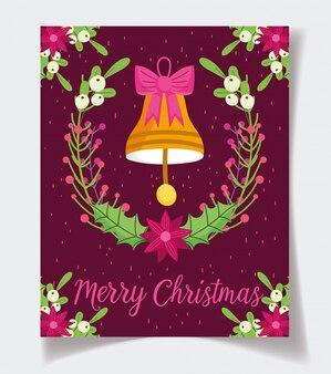 Ozdobny dzwon kwiat łuk pozostawia uroczystości wesołych świąt bożego narodzenia plakat