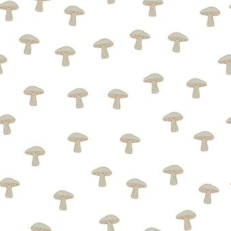 Ozdobny jesień wzór jedzenie bez szwu z kształtami grzybów na białym tle mały beż leccinum parch. ilustracji. projekt wektor dla tekstyliów, tkanin, prezentów, tapet.