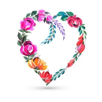 Ozdobny kolorowy kwiat walentynki karta kształt serca
