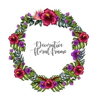 Ozdobny kolorowy kwiatowy ornament rama