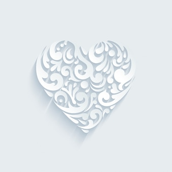 Ozdobny kształt serca tworzą abstrakcyjne elementy kreatywne. szablon na walentynki, pocztówka uroczystości ślubne.