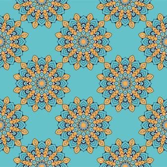 Ozdobny kwiatowy kolorowy mandala pochodzenie etniczne artystyczny wzór wektor ilustracja projekt