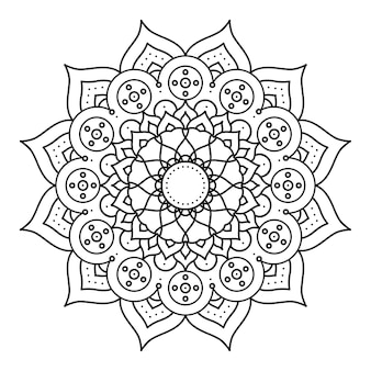 Ozdobny kwiatowy monochromatyczny projekt ilustracji etnicznych mandali