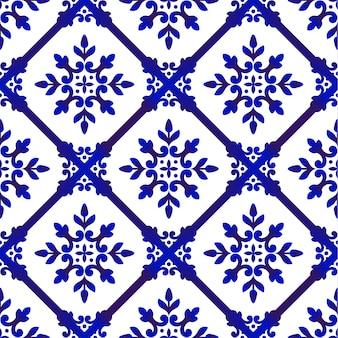 Ozdobny kwiatowy niebieski wzór