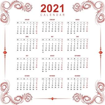 Ozdobny kwiatowy projekt kalendarza 2021