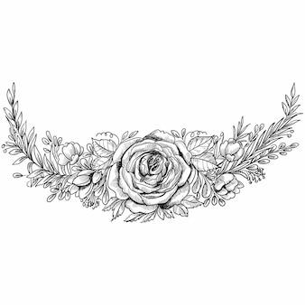 Ozdobny kwiatowy ręcznie narysować szkic
