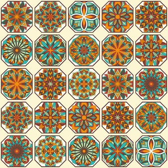 Ozdobny kwiatowy tekstura, niekończące się wzór z elementami mandali vintage.