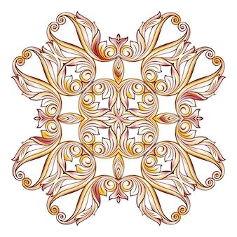 Ozdobny kwiatowy wzór na białym tle