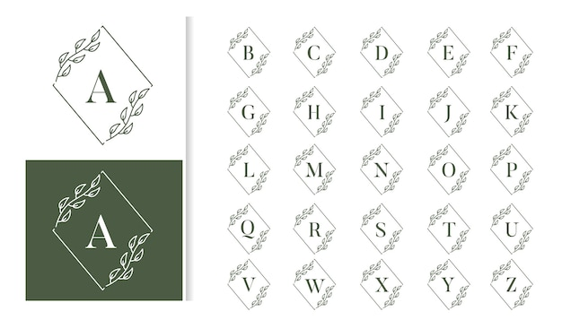 Ozdobny luksusowy ślubny monogram logo zestaw alfabetu